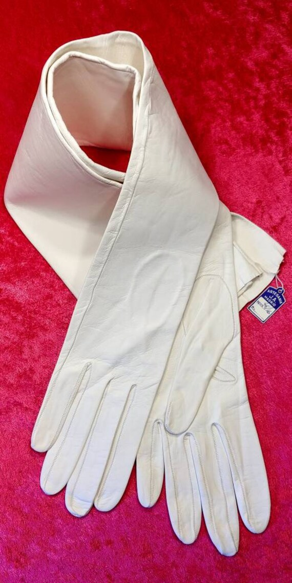 White Leather Opera Gloves ~ Size 7 ~ Spain