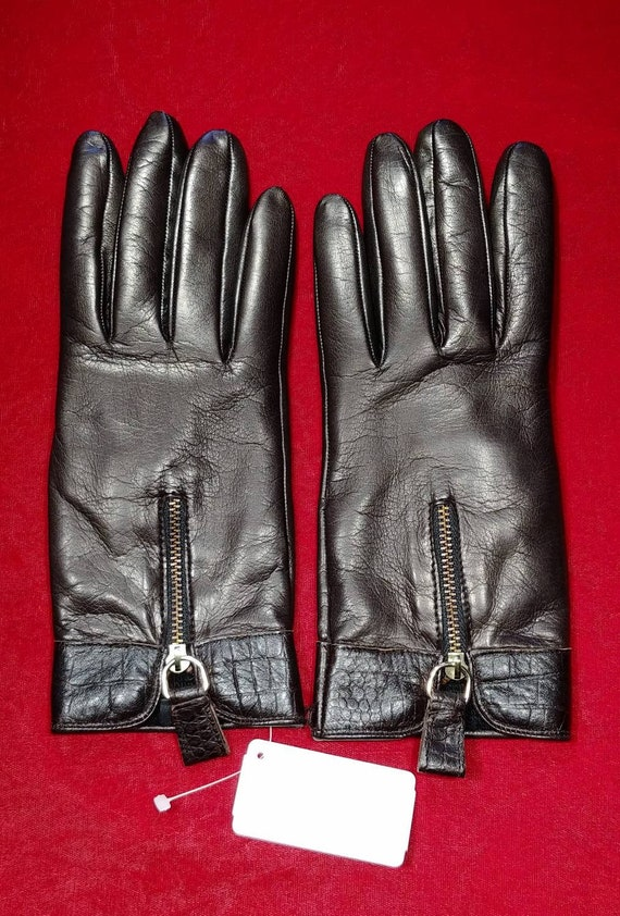 Neiman Marcus Brown Leather Gloves ~ Size 8