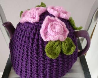 Rose garden hand knitted purple tea cosy, Mother's day gift.