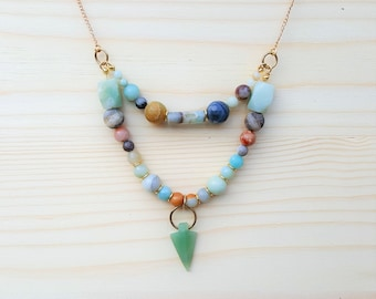Amazonite Arrowhead Multi-Strand Gold Toned Necklace