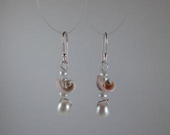 """Pearl & Shells """"Poseidon Princess"""" Earrings on Sterling Silver"""