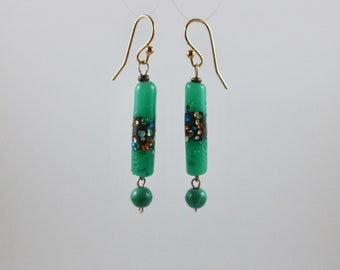 """Vintage Bead """"Confetti"""" Green Earrings with Gold"""