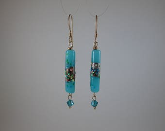 """Vintage Bead """"Confetti"""" Blue Earrings with Gold"""