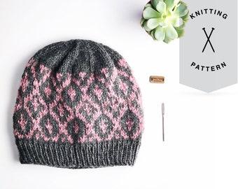 The Thessa Beanie // Pattern PDF // Digital Download // Beginner Fair-Isle Pattern // NEW Knitting Pattern // Color Work Design Pattern