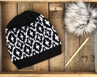 Thessa Beanie // Ready to Ship // Lightweight and Warm / Cool Weather Accessory / Fair-Isle Hand Knitted Beanie / One of a Kind Item