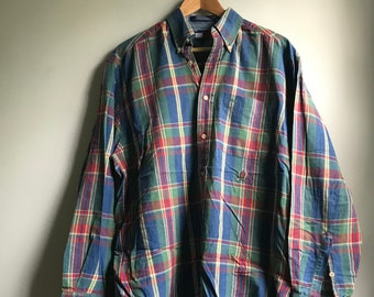 79e14858 90s Tommy Hilfiger Plaid Shirt - S
