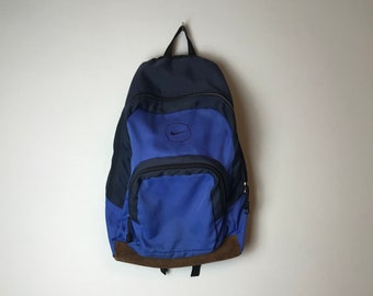 90s Nike Backpack Bookbag with Leather Bottom in Blue 8cc6bf294d