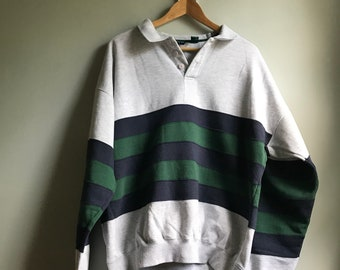 90s Collard Color Blocking Sweatshirt - XL