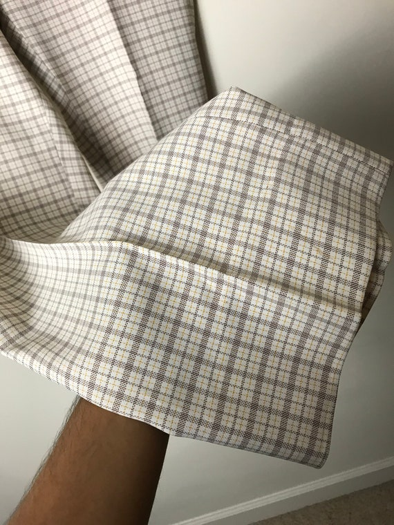 70s or 80s Plaid Pants in White - 34 X 30 - image 3