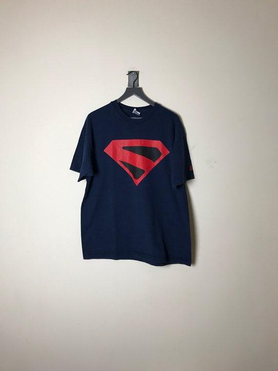 1998 Superman Graffiti Navy T-shirt - Size XL