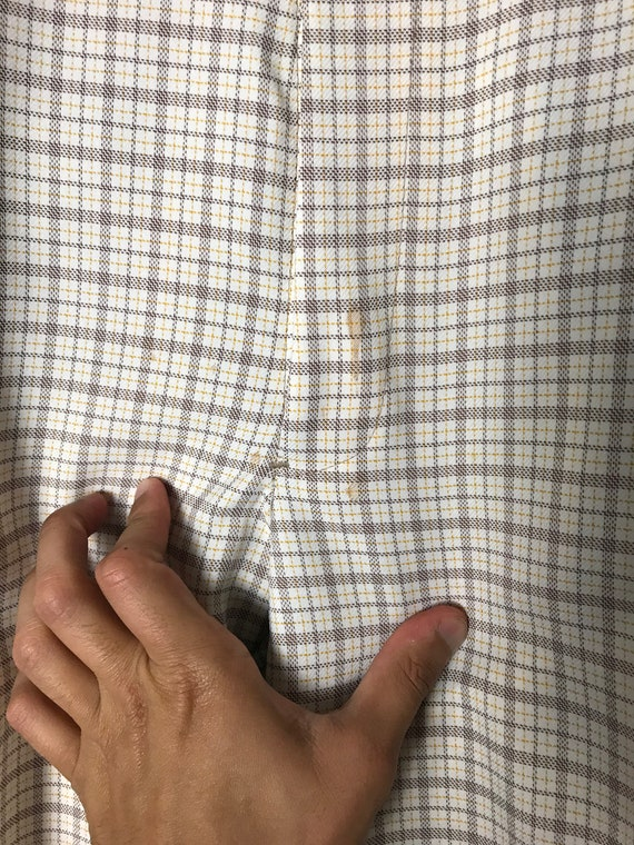 70s or 80s Plaid Pants in White - 34 X 30 - image 4