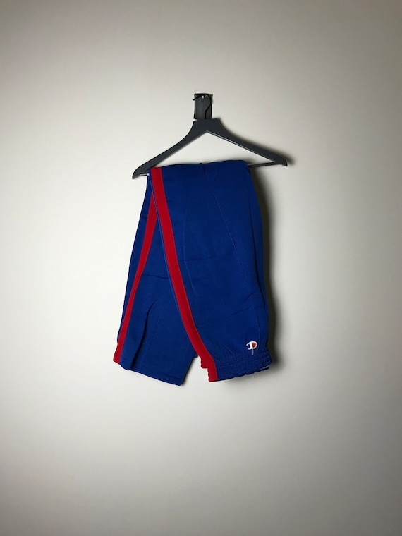 80s Champion Sweatpants in Royal Blue and Red - XL