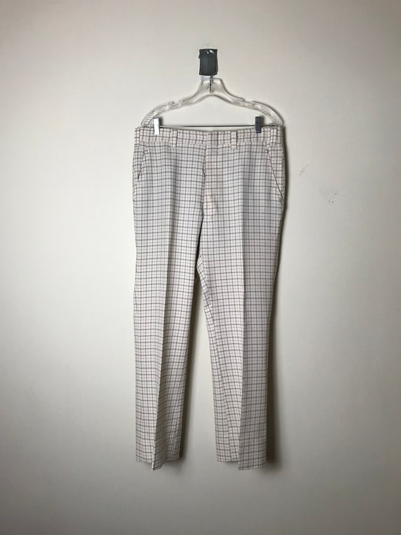 70s or 80s Plaid Pants in White - 34 X 30 - image 2