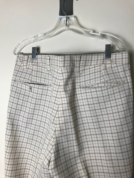 70s or 80s Plaid Pants in White - 34 X 30 - image 6