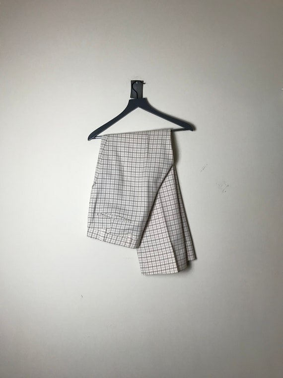 70s or 80s Plaid Pants in White - 34 X 30 - image 1