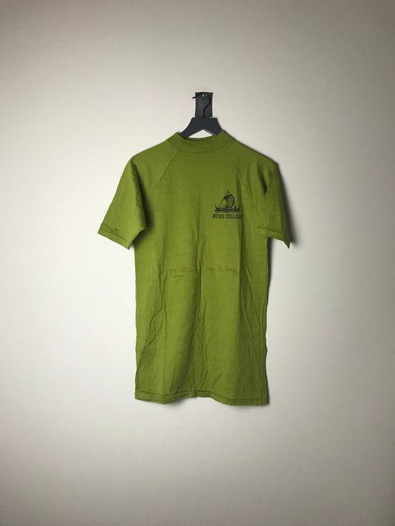 70s Ricks College BYU Shirt in Green - XL