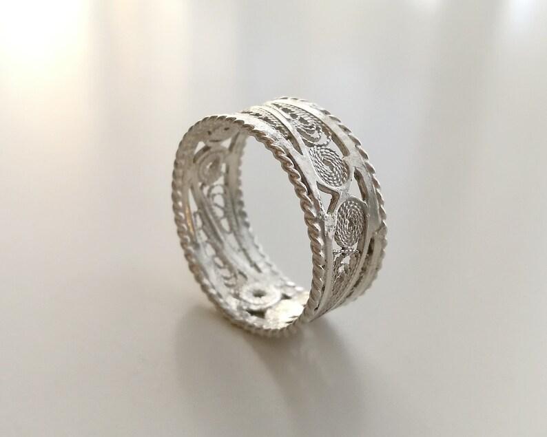 Unique sterling silver handmade filigree ring jewellery vintage