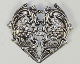 Ornate Floral Heart Stamping w/Pin Back - Silver - 5.00 each