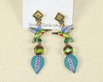 Hummingbird on Leaf Earrings- J-4