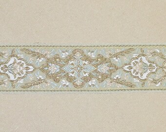 "Ivory Metallic Gold Jacquard Trim-1 and 5/8"" wide-Trim #22"
