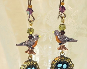 Robin with Nests Earrings- J-10