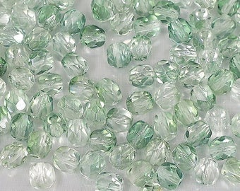 6 mm Celery green and Crystal Firepolish-25 or 100 Loose Beads-Bin 10