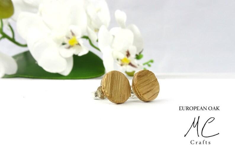 Wooden Earrings European Oak  Wooden Jewelry wood Earrings Wooden studs Earrings wood Fake Gauge Men Women Gift Anniversary
