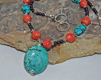 Tibetan Turquoise and Sponge Coral Necklace with Black Agate and Silver Accents  J-2147