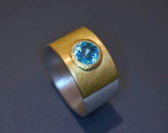 Ring Silver Gold Zircon
