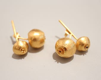 Studs fruit made of silver fine gold plated