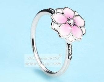 ac7786463 S925 Sterling Silver Magnolia Bloom, Pale Cerise Enamel & Pink CZ Rings  Woman Jewelry Size 50,52,54,56,58MM