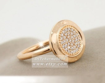 2017 Spring Release Rose Gold Rose™ Signature with Clear CZ Ring Women Jewelry Size 50,52,54,56,58MM