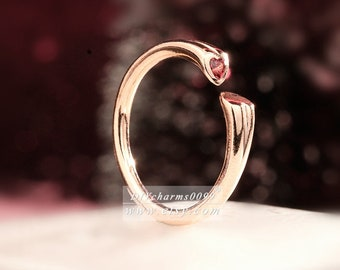 2018 Valentine Release Rose Gold Rose™ Two Hearts Red CZ Ring Women Jewelry Size 50,52,54,56,58MM