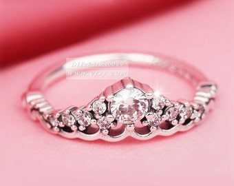 8725fb2b8 Sterling Silver Fairytale Tiara Ring With Clear CZ Ring Woman Jewelry Size  50,52,54,56,58MM