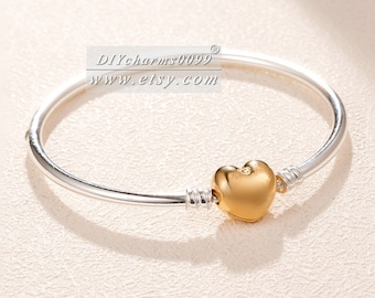 ca5f6a37a 2018 Autumn Release Two Tone Shine™ Silver Moments Logo Heart Bangle Clasp  Bangle Bracelet Fit DIY European Charm Beads