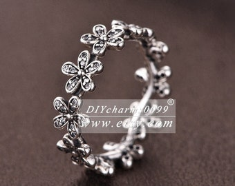 14d43420e S925 Sterling Silver Dazzling Daisy Meadow With Clear CZ Ring Woman Jewelry  Size 50,52,54,56,58MM