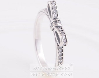 a3740bda3 Woman Ring 925 Sterling Silver Sparkling Bow with Clear CZ Stackable Ring  Woman Jewelry Size 50,52,54,56,58MM
