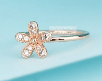 2016 Mother's Day Release Rose Gold Rose™  Dazzling Daisy with Clear CZ Ring Engagement Rings Women Jewelry Size 50,52,54,56,58MM