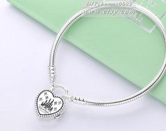 731b3bcba 2019 Spring Release S925 Sterling Silver Dis Park Fantasyland Castle Heart  Bracelet , Clasp is detachable as pendant