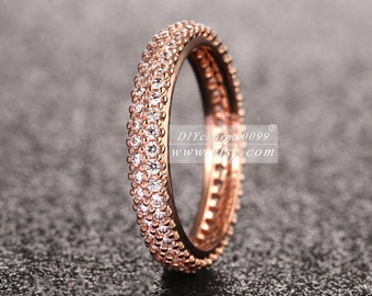 2015 Autumn Release Rose Gold Rose™  Inspiration With Clear CZ Hearts Ring Engagement Rings Women Jewelry Size 50,52,54,56,58MM