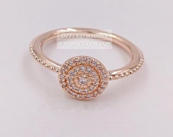 2017 Spring Release Rose Gold Rose™  Radiant Elegance with Clear CZ Ring Women Jewelry Size 50,52,54,56,58MM