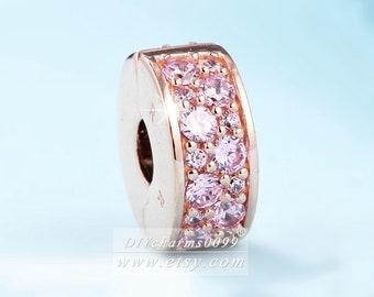 6cf9f18d0 2017 Autumn Release Rose Gold & Pink CZ Shining Elegance Clip Charm Beads  Fits All European DIY Bracelets Necklaces
