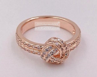 2017 Spring Release Rose Gold Rose™ Sparkling Love Knot with Clear CZ Ring Women Jewelry Size 50,52,54,56,58MM