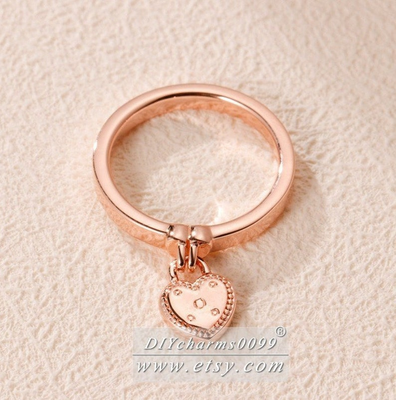 2019 Spring Release Rose Gold Love Lock Ring Woman Jewelry Size 50,52,54,56,58MM