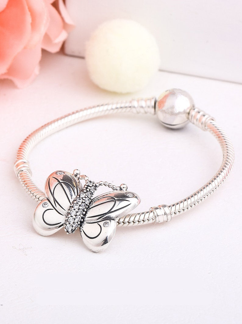 2019 Spring Release Sterling Silver Large Pretty Butterfly Decorative Butterfly Charm With CZ Charm Fits European DIY Bracelets Necklaces