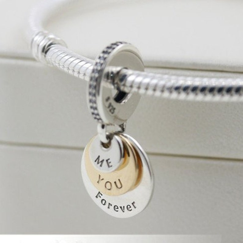 2016 Fall Release Two Tone You /& Me Forever Dangle Charm with Clear CZ Charm Fits All European DIY Bracelet Necklaces