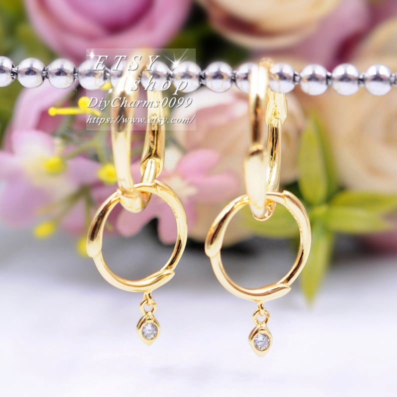 2019 Spring Release Shine Collection 18K Gold Overlay Sterling Silver Flower Stem Hoop Earrings With Clear CZ Hoop Earrings