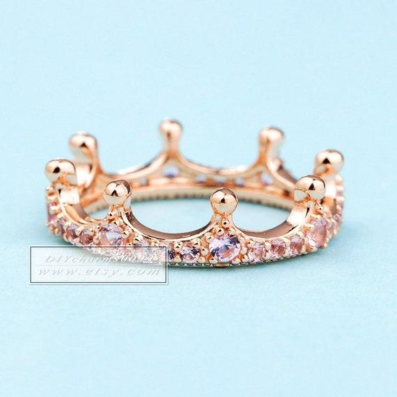 GENUINE S925 ROSE GOLD PINK STONES  TIARA ENCHANTED CROWN RING SIZE SALE !!