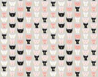 Meow White Cats Riley Blake Fabric FQ Half Metre Metre or More 100/% Cotton