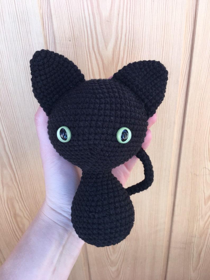 Black cat JiJi (reference, my own cat, amigurumi) : crochet | 1059x794